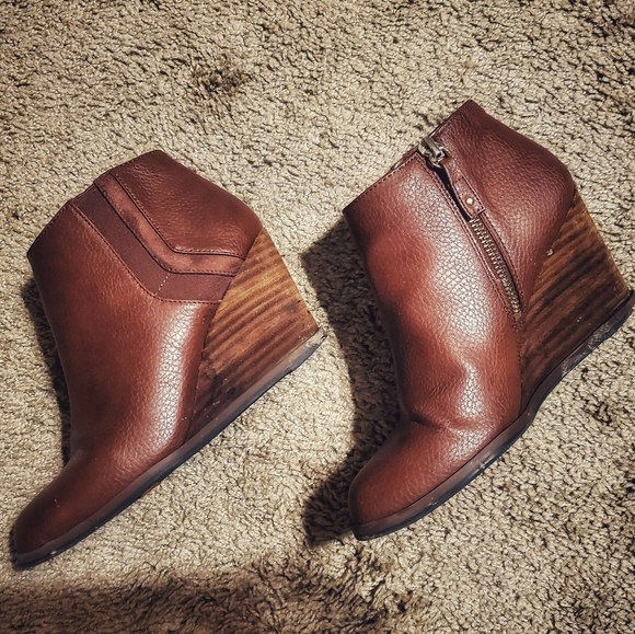 Dr. Scholl's Shoes - Dr Scholl's Cognac Wedge Ankle Booties